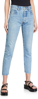 Moussy True Indigo Used Tapered High-Rise Jeans