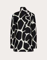 Valentino Printed Crepe Couture Top Women Ivory/black Virgin Wool 65%, Silk 35% 40