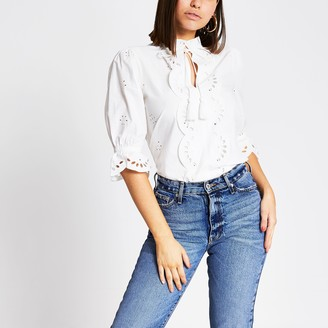 River Island Womens White broderie cut out tie front top