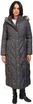 London Fog Mix Quilted Maxi Coat with Fur Hood