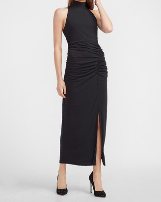Express Mock Neck Ruched Side Midi Dress