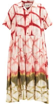 Story mfg. Eden Clamp-dyed Organic-cotton Midi Shirt Dress - Pink Multi