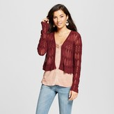Knox Rose Women's Cropped Pointelle Ruffle Cardigan - Knox Rose Burgundy