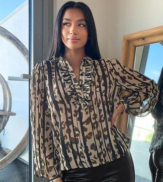 Vila Petite ruffle detail blouse in animal print