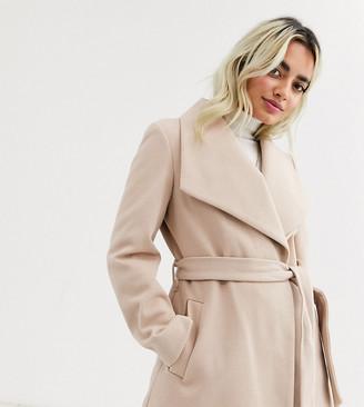 Miss Selfridge Petite wrap coat in cream