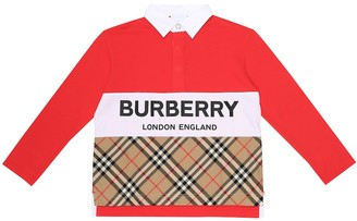 BURBERRY KIDS Quentin logo cotton-pique top