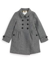 Burberry 'Coraline' Double Breasted Wool Blend Coat (Toddler Girls, Little Girls & Big Girls)