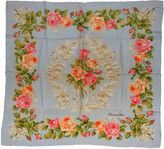 One Kings Lane Vintage Christian Dior Floral Blue Silk Scarf