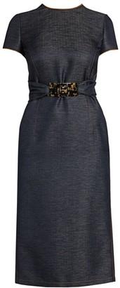 Giorgio Armani Silk & Wool Denim-Effect Belted Dress