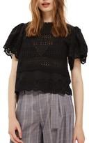 Topshop Women's Broderie Ruffle Sleeve Top
