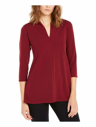 Alfani Womens Burgundy Solid 3/4 Sleeve V Neck Blouse Top UK Size:4