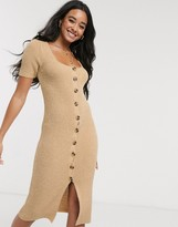 Asos Design DESIGN button front midi dress in natural look yarn