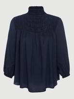 Frame Silk Smocked 3/4 Sleeve Blouse