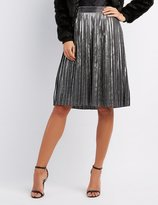 Charlotte Russe Shimmer Pleated Midi Skirt