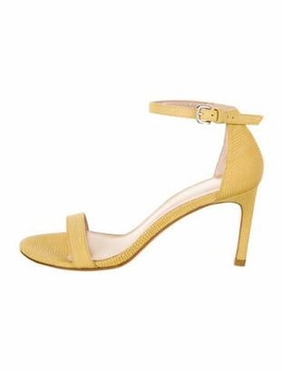 Stuart Weitzman Nu Naked Straight Suede Sandals Yellow