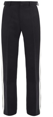 Casablanca Side-stripe Wool-blend Flared-leg Suit Trousers - Black