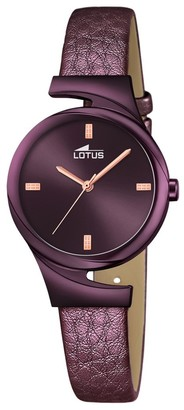 Lotus Women's Quartz Watch with Purple Dial Analogue Display and Purple Leather Strap 18346/1