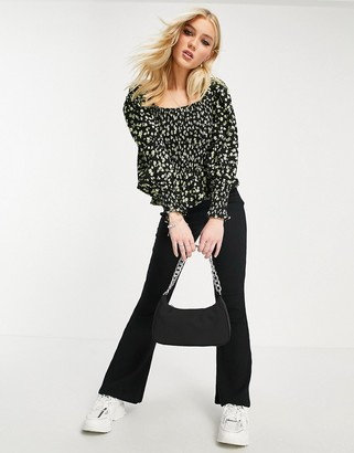 New Look shirred square neck blouse in black floral