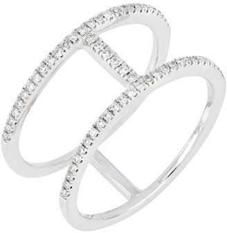 Carriere Sterling Silver Pave Diamond Bar Ring - 0.19 ctw