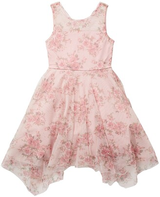 Trixxi Mesh Sparkle Handkerchief Hem Dress