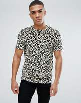 Asos T-Shirt In Velour All Over Leopard Print