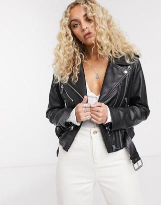 Lab Leather cropped belted leather biker jacket in black