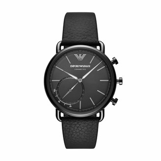 Emporio Armani Mens Aviator Leather Hybrid Smart Watch Color: Black (Model: ART3030)