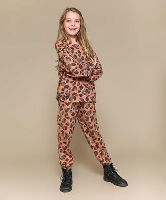 Precious Kids Girls' Sweatpants Brown - Brown Leopard Cool Girl Long-Sleeve Tee & Pocket Joggers Set - Girls