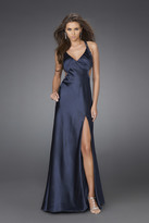 La Femme Embellished Halter Neck Evening Dress 15232