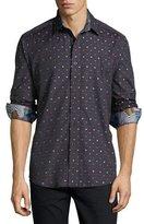 Robert Graham Orion Box-Print Sport Shirt, Charcoal