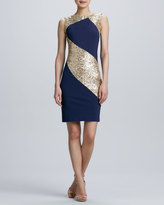 Erin Fetherston Erin by Sequined Ponte Combo Sheath Cocktail Dress