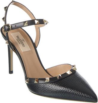 Valentino Rockstud 85 Grainy Leather Ankle Strap Pump