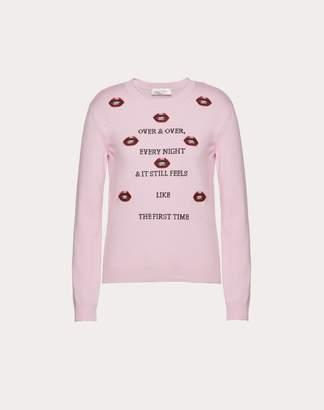 Valentino Undercover Wool And Cashmere Jumper With Embroidered Patch Women Pink Virgin Wool 70%, Cashmere 30% M