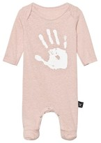Nununu Powder Pink Hand Print Overall Footie