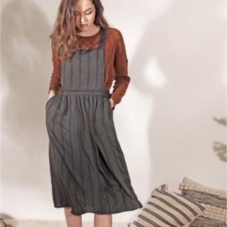 Louizon - Gray Rust & Dark Blue Viscose Stripes Pearl Dress - Size 0 - Grey/Copper/Blue