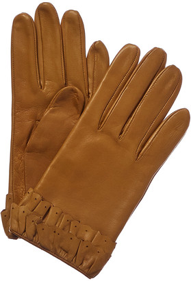Portolano Women's Golden Sunflower Silk-Lined Leather Gloves