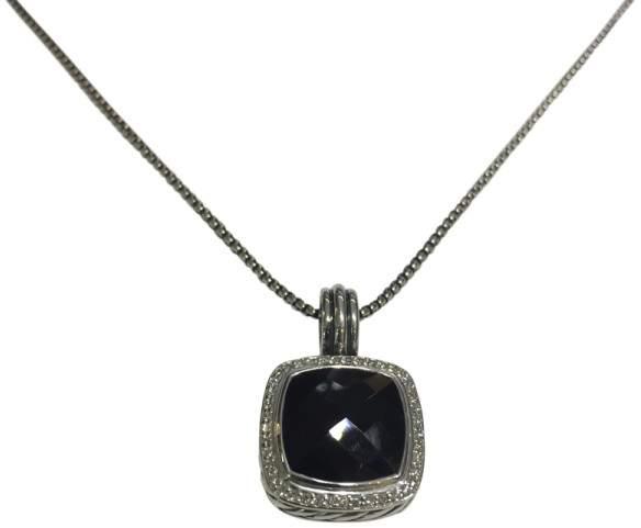 David Yurman Albion Sterling Silver Onyx & 032ct Diamond Pendant Necklace