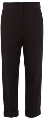 Raey Elasticated-back Turn-up Waxed Trousers - Black