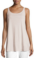 Scoop-Neck Stretch Silk Jersey Tunic, Plus Size