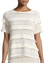 Joie Rafel Short-Sleeve Fringed Crochet Top, Natural