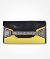 Color Block Stud Embellished Fold-Over Clutch