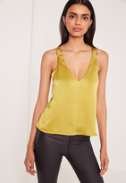 Missguided D Ring Detail Satin Cami Yellow