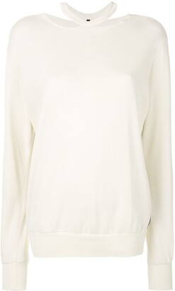Unravel Project Cut-Out Crew Neck Sweater