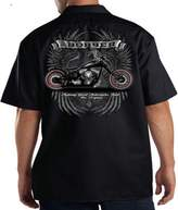 Lucky Ride Mechanic Shop Bobber Garage Harley Chopper Biker Work Shirt Motorcylce