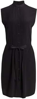 Rag & Bone Sarah Classic-Fit Plisse Sleeveless Silk Shirtdress