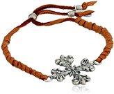 "Ettika Adjustable Rust Deerskin Leather Bracelet with Flower Cross Charm, 10"""