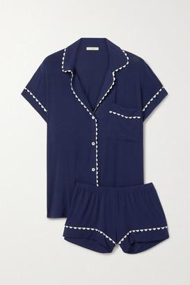 Eberjey Rickrack-trimmed Stretch-modal Jersey Pajama Set - Navy