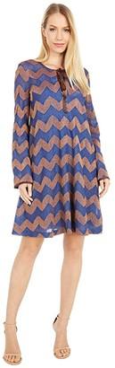 M Missoni Long Sleeve Jersey Swing Dress in Zigzag (Rust/Blue) Women's Clothing