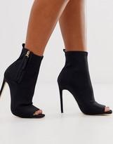 Simmi Shoes Simmi London peep toe heeled sock boots in black
