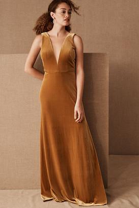 Anthropologie Jenny Yoo Logan Velvet Dress By in Yellow Size 2